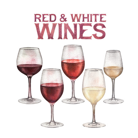 Watercolor glasses of red and white wines isolated on white background Stock Photo