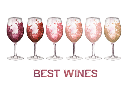 Watercolor glasses of red, rose and white wines isolated on white background Stock Photo