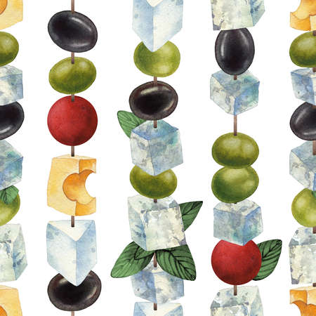 Watercolor canapes made of cheese, olives and cherry tomatoes 写真素材