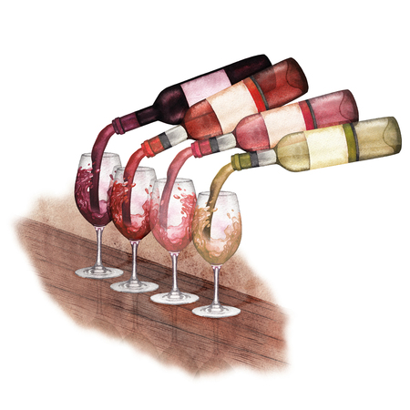 Watercolor red, white and rose wines pouring from bottles into glasses standing on a wooden table Stock Photo