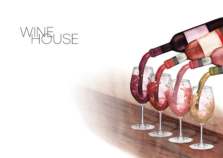 Watercolor red, white and rose wines pouring from bottles into glasses standing on a wooden table Banque d'images