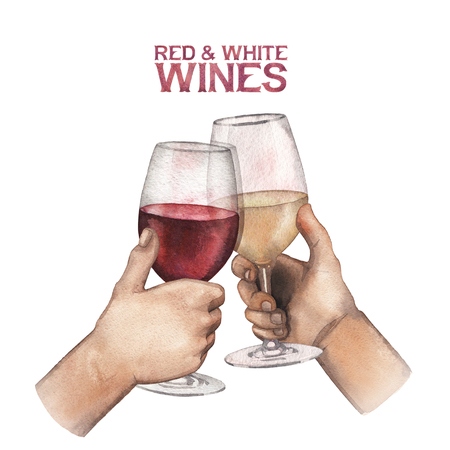 Two watercolor hands holding glasses of red and white wine Stock Photo