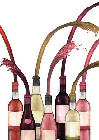 Watercolor bottles with red white and rose wine splashing out of it.