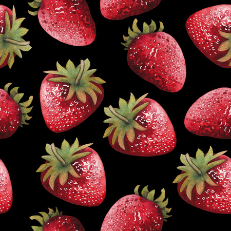 Seamless pattern of bright yand painted watercolor strawberries Stock Photo