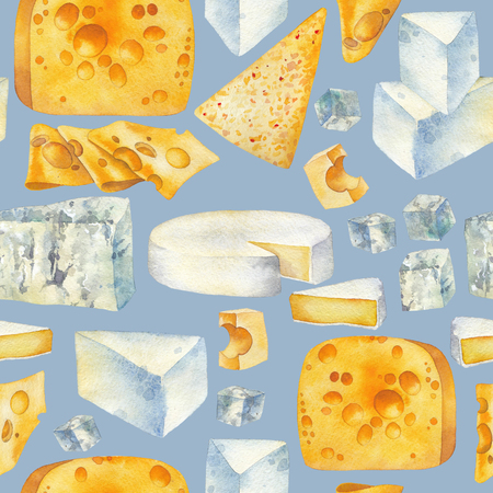 Watercolor pattern of different types of cheese Stock Photo