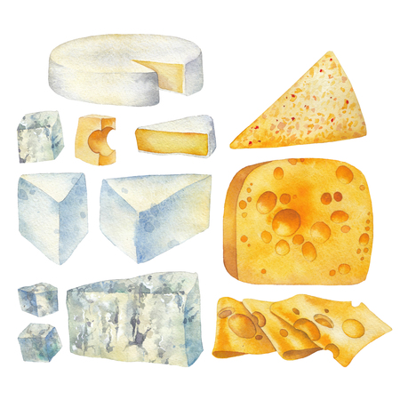 Watercolor collection of different types of cheese. Stock Photo