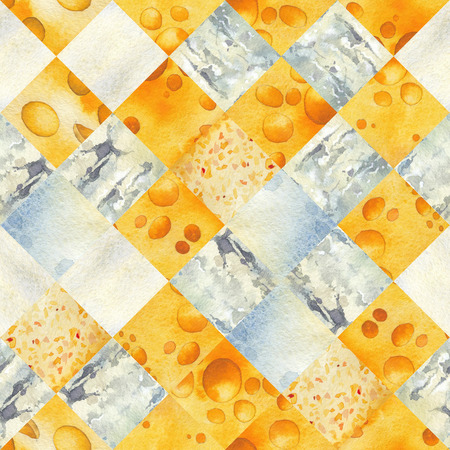 Abstract watercolor seamless pattern of cut slices of cheese Stock Photo