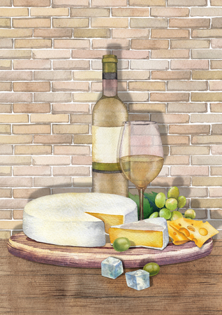 Watercolor bottle and glass of wine with camembert cheese and grapes Stockfoto - 110770927