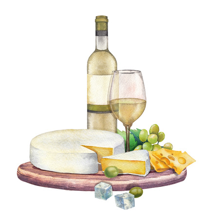 Watercolor bottle and glass of wine with camembert cheese and grapes