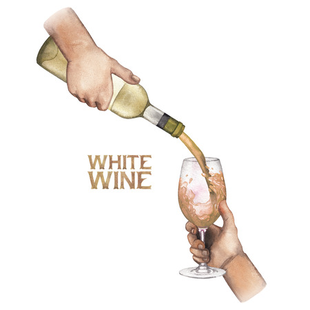 Watercolor hand pouring white wines from the bottle into the glass. Stok Fotoğraf