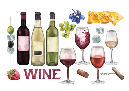 Watercolor wine glasses, bottles and other with delicious food Stock Photo