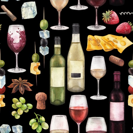 Watercolor wine glasses, bottles and other delicious food