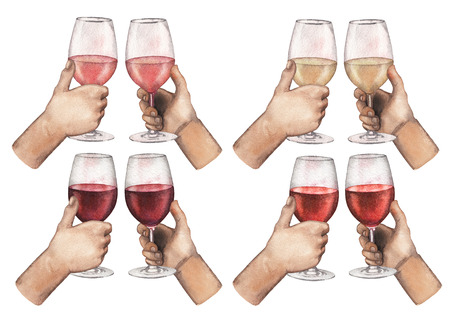 Collection of watercolor hands holding red, white and rose wine glasses.