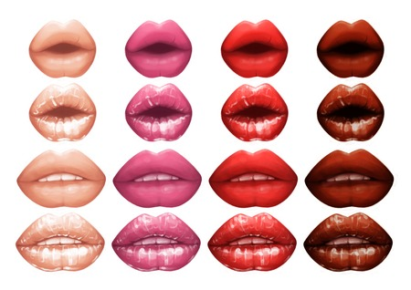 Realistic lips painted with matte and glossy pink lipsticks Stock Photo