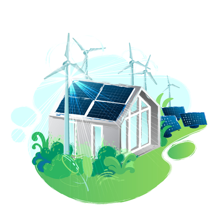 Solar panels placed on the roof of the modern house surrounded by wind turbines in the lush foliage and illuminated with sun. Vector art isolated on white background Stock Illustratie