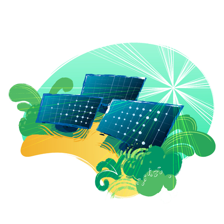 Solar panels in the yellow fields illuminated with the sun. Vector art isolated on white background