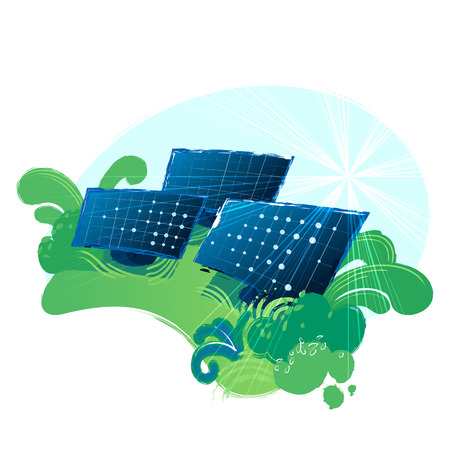 Solar panels in the green fields illuminated with the sun. Vector art isolated on white background Stock Illustratie