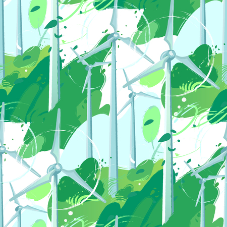 Spinning wind turbines in the green field with leaves blowing out of the bushes. Vector graphic isolated on white background. Vector seamless pattern