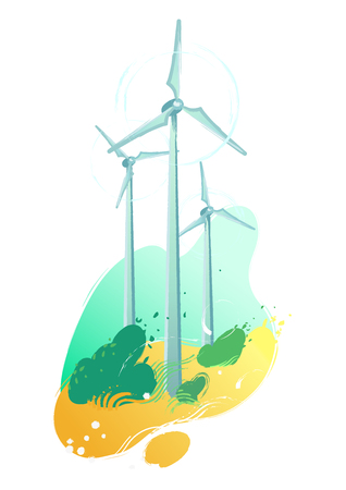Spinning wind turbines in the yellow fields with leaves blowing out of the bushes. Vector graphic isolated on white background Stock Illustratie