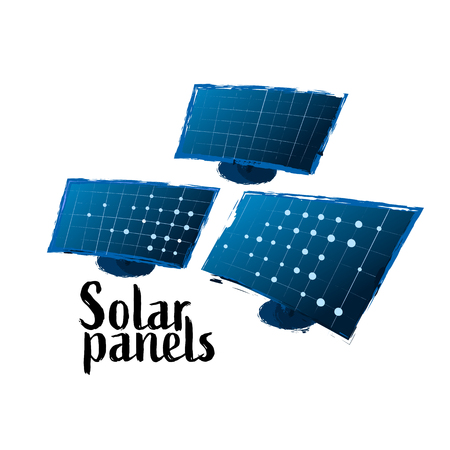 Vector collection of solar panels drawn in the technique of rough brush and isolated on white background
