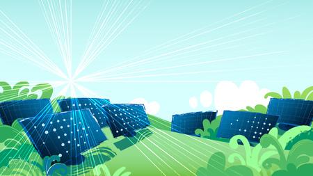 Solar panels in the green fields illuminated with the sun. Vector art
