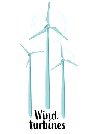 Vector collection of three spinning wind turbines drawn in the technique of rough brush and isolated on white background Stock Illustratie