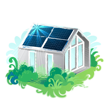 Solar panels placed on the roof of the modern house surrounded by lush foliage and illuminated with sun. Vector art isolated on white background Stock Illustratie
