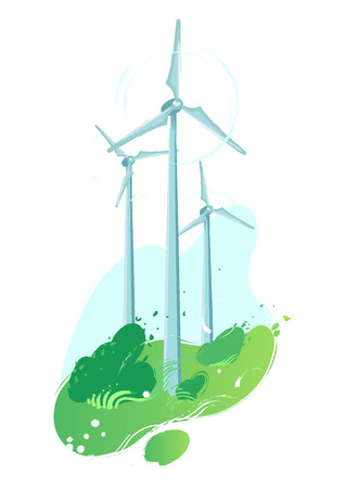 Spinning wind turbines in the green field with leaves blowing out of the bushes. Vector graphic isolated on white background Stock Illustratie