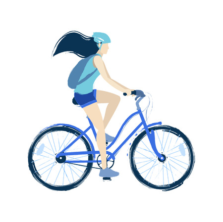 Teenage girl riding the bicycle. Vector illustration isolated on white background