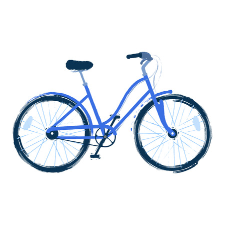 Vector illustration of the blue bicycle drawn in abstract technique of rough brush and isolated on white background