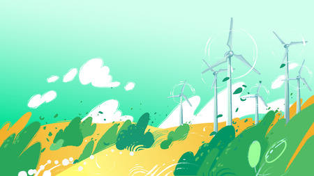 Spinning wind turbines in the yellow fields with leaves blowing out of the bushes. Vector graphic