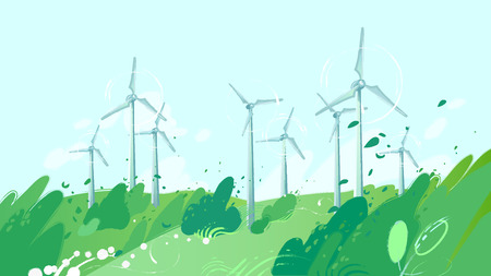 Spinning wind turbines in the green field with leaves blowing out of the bushes. Vector graphic