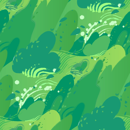 Green fields with strong wind blowing out leaves from the bushes and sky with clouds. Vector seamless pattern