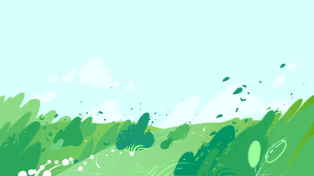 Green fields with strong wind blowing out leaves from the bushes and sky with clouds. Vector graphic Stock Illustratie