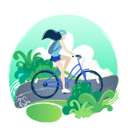 Teenage girl riding the bicycle on the bike path through the green fields. Vector illustration isolated on white background Stock Illustratie