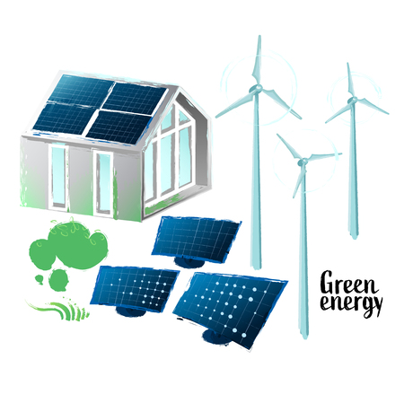 Solar panels placed on the roof of the modern house, wind turbines and some bushes. Vector collection of green energy stuff isolated on white background