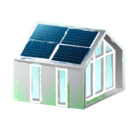 Solar panels placed on the roof of the modern house. Vector art isolated on white background