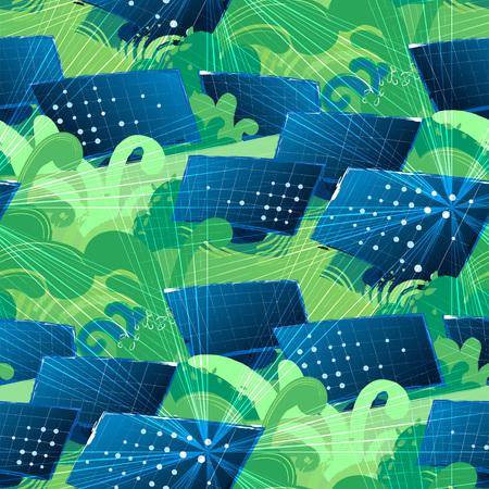 Solar panels in the green fields illuminated with the sun. Vector seamless patterns Stock Illustratie