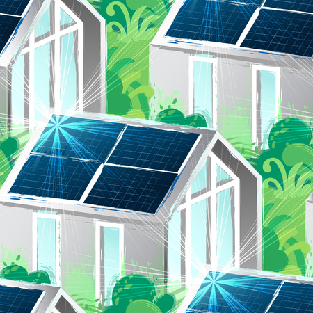 Solar panels placed on the roof of the modern house surrounded bu lush foliage and illuminated with sun. Vector seamless pattern