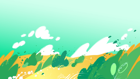 Yellow fields with strong wind blowing out leaves from the bushes and sky with clouds. Vector graphic