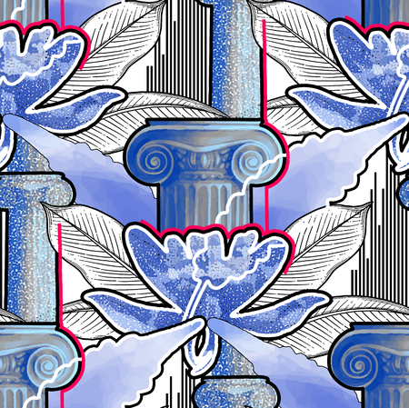 Exotic design with ancient column of Ionic Order and tropical flowers. Vector seamless pattern in different modern techniques Stock Illustratie