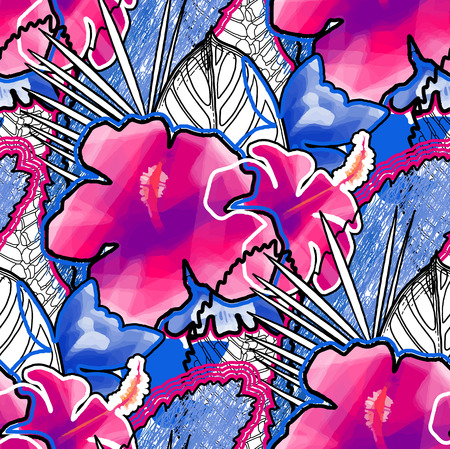 Vibrant design with vivid exotic leaves and flowers.Vector floral seamless pattern in different modern techniques