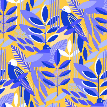 Abstract seamless pattern of minimalistic leaves and exotic birds in vibrant colors. Modern vector design