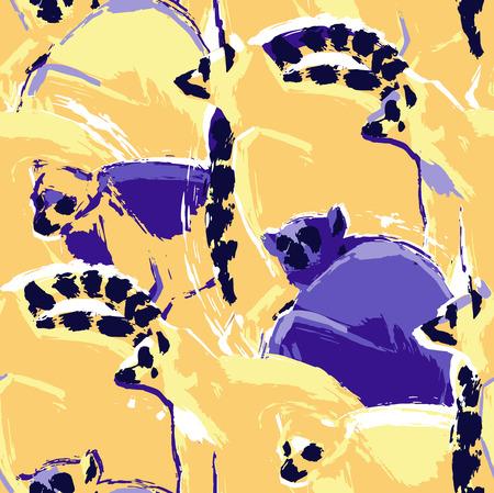 Modèle sans couture de lémuriens sauvages dessinés dans la technique abstraite de la brosse rugueuse. Conception exotique de vecteur dans des couleurs vives Vecteurs