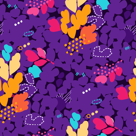 Abstract seamless pattern with strokes, dots and floral elements Stock Photo