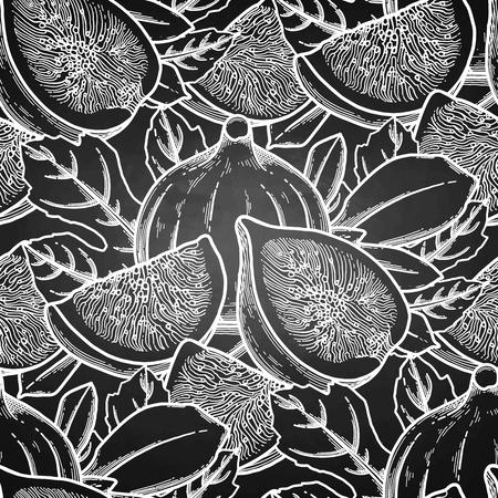 Graficzne owoce i liście figowe. Wektor wzór botaniczny