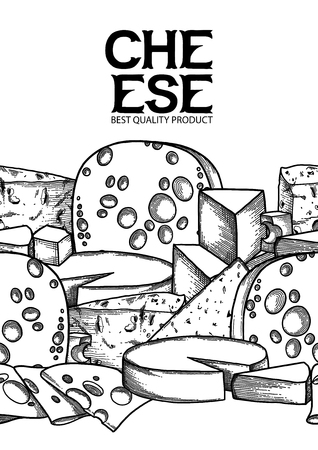 Graphic seamless border with different types of cheeses