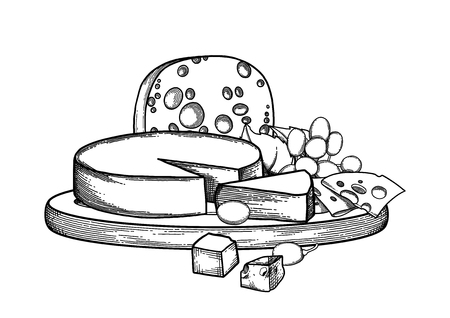 Graphic design witn different types of cheese and grapes