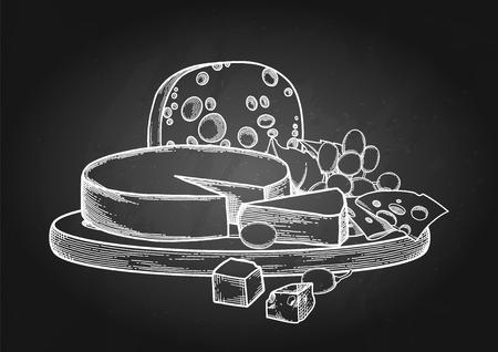 Conception graphique avec différents types de fromages et de raisins