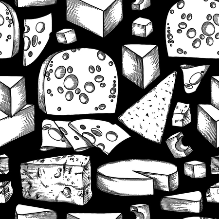 Graphic pattern of different types of cheese  イラスト・ベクター素材